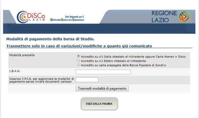 """screenshot della sezione """"modalità di pagamnto"""". Eliminata la possibilità di richiedee il pagamento in contanti"""